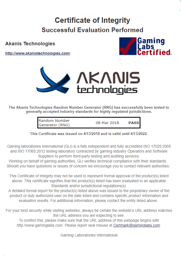 WinTV Gaming Labs Certified - Akanis Technologies